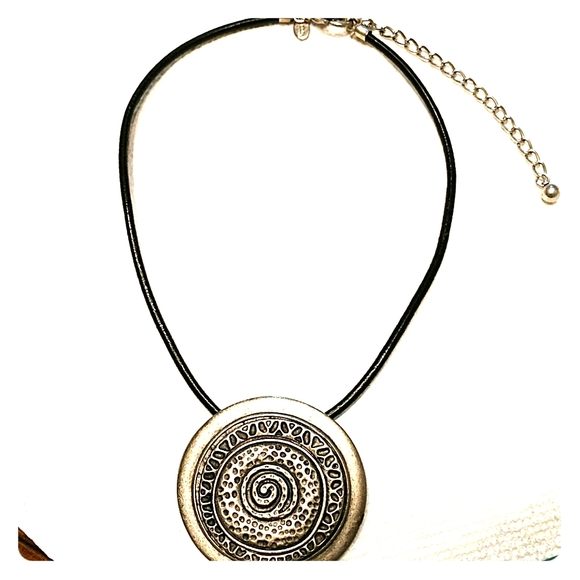 Chico's Jewelry - Chico's  leather necklace silver pendant